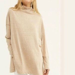 WE THE FREE TAUPE FUNNEL NECK LONG SLEEVE SHIRT